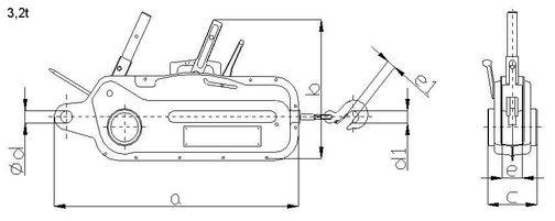 Lanový zdvihák Brano nákres - 3,2t